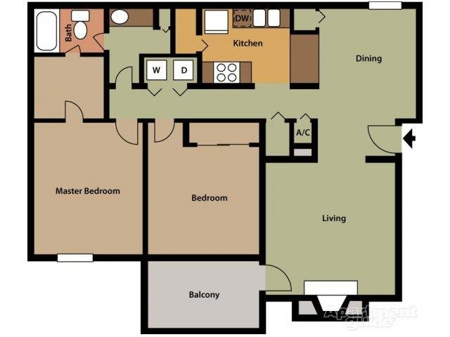 2 Bed 1 Bath Floor Plan 1