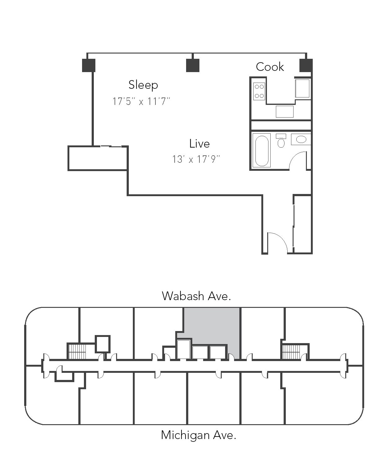 Studio 1ba 05 Floor Plan 5