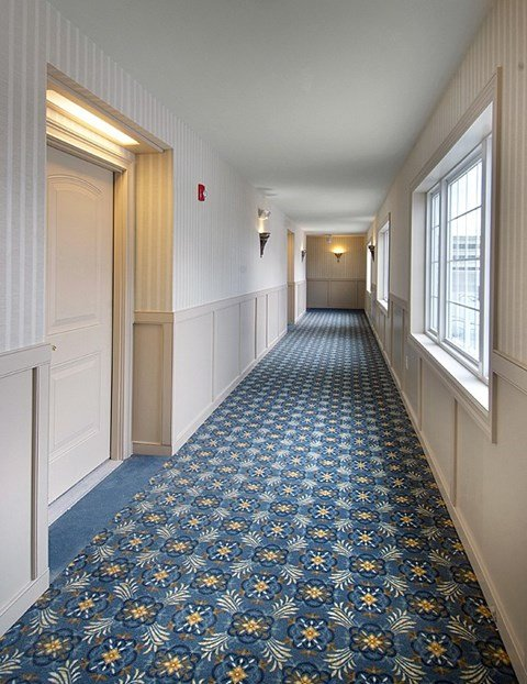 Interior hallway of apartment building