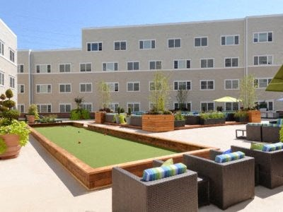 Community Courtyard with bocce ball court