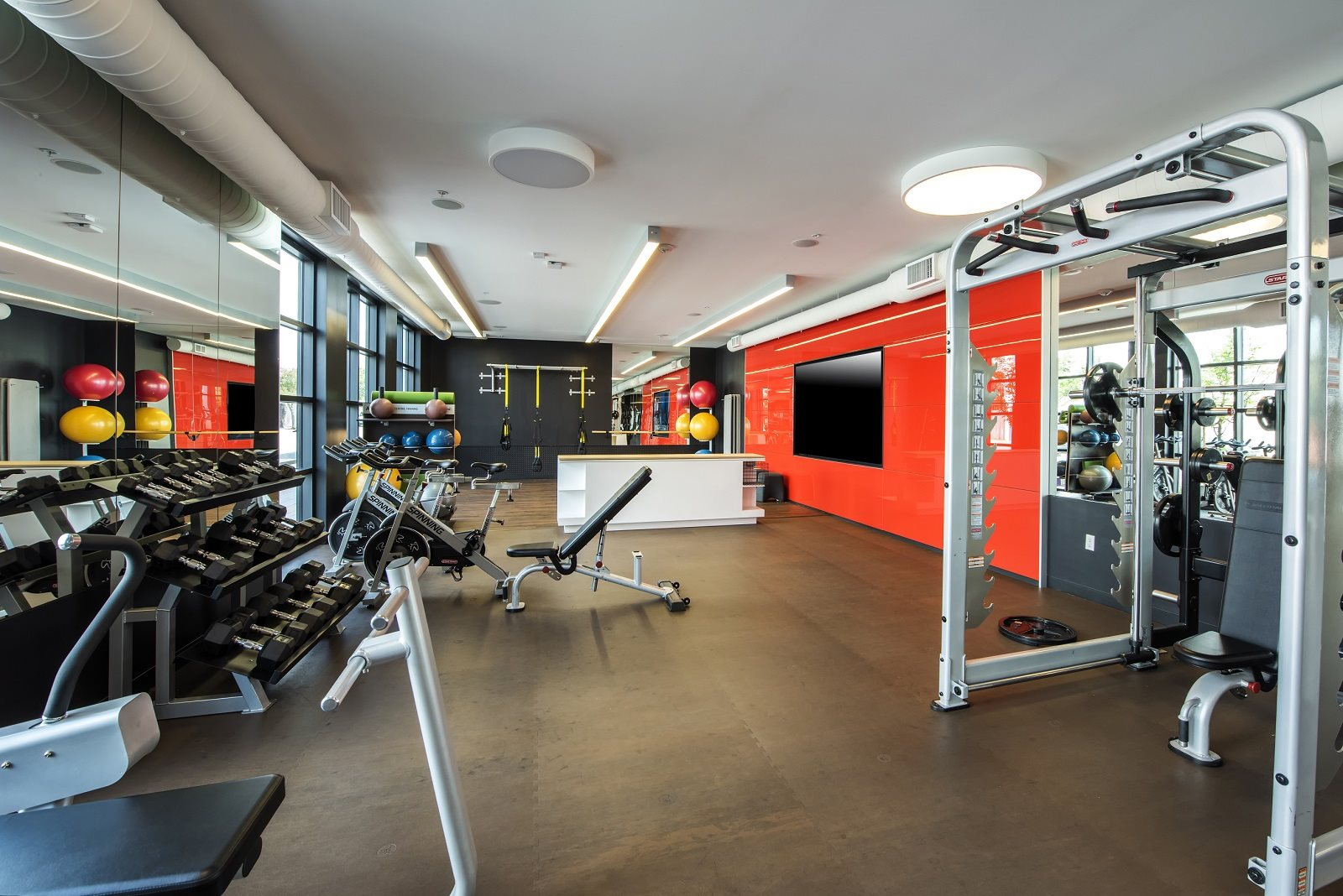 Fitness Center with Multi-screen Fit Wall- Malden Station by Windsor