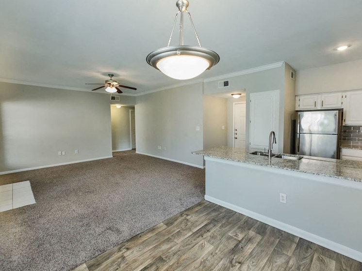 White Oak Floorplan with kitchen and living room