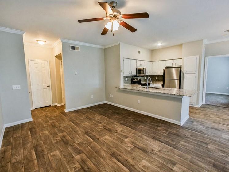 Graves Floorplan, unfurnished kitchen and living room