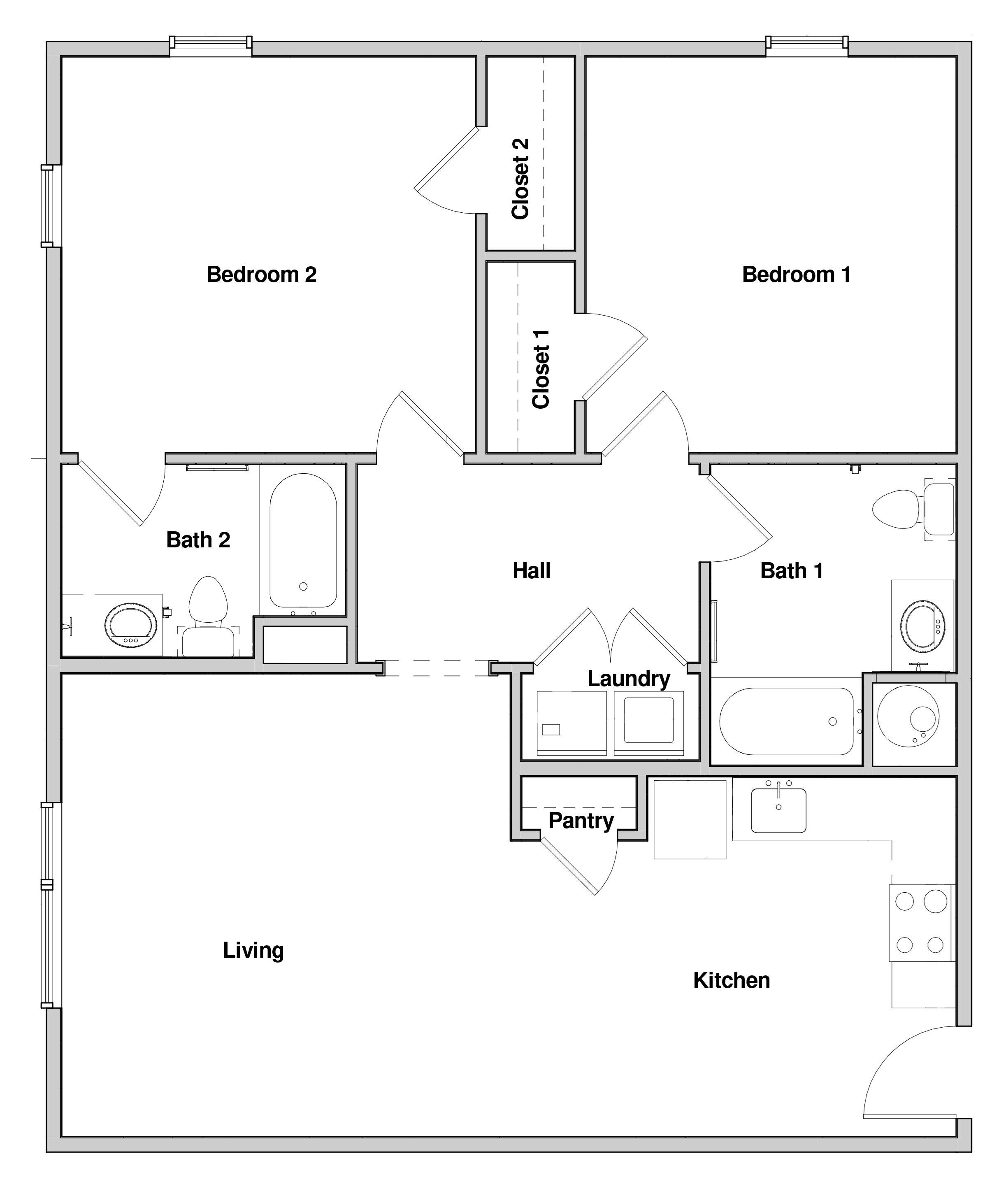 2 Bedroom 2 Bath Floor Plan 6