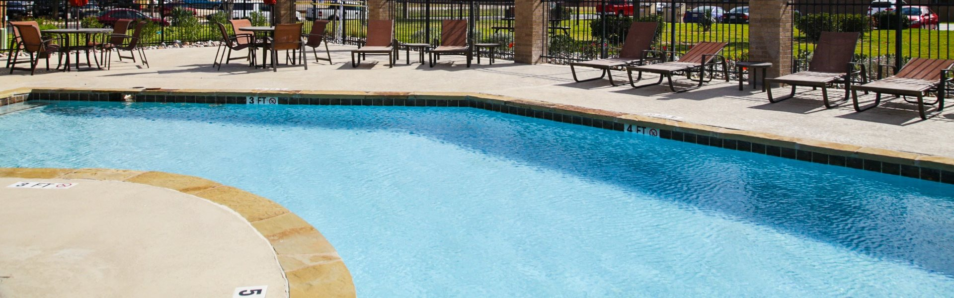 Refreshing Pool with Cabanas at Hawthorne House, TX
