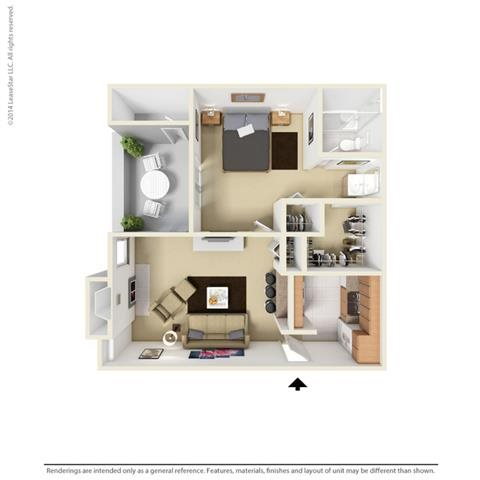 A1 - 1 bedroom 1 bath Floor Plan 2