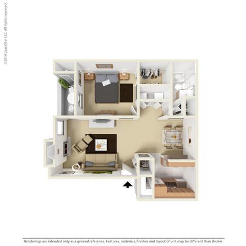 A2 - 1 bedroom 1 bath Floor Plan at Park at Caldera, Midland