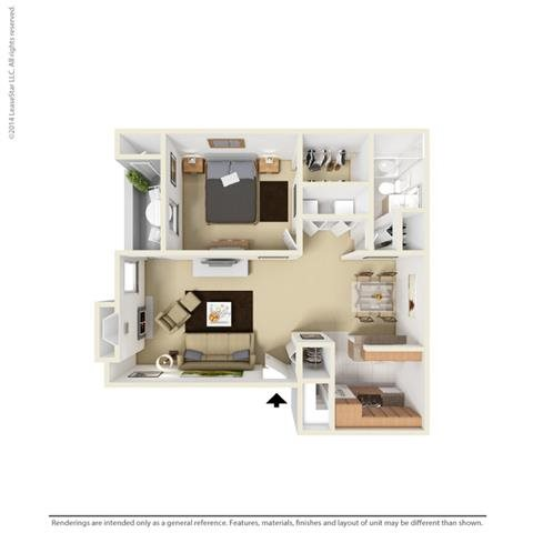 A2 - 1 bedroom 1 bath Floor Plan 3