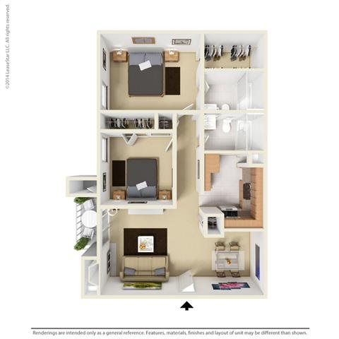 B1 - 2 bedroom 2 bath Floor Plan 4