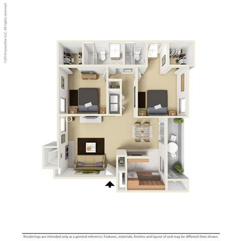 B3 - 2 bedroom 2 bath Floor Plan 6