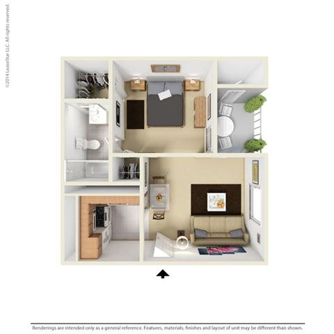E1 - Studio bedroom 1 bath Floor Plan 1