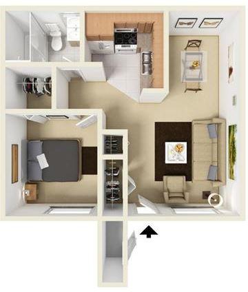 A1 - 1 bedroom 1 bath Floor Plan at University Gardens, Odessa