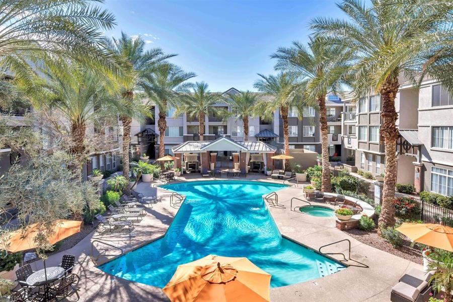 2 Sparkling Swimming Pools at Citi on Camelback, Phoenix, Arizona