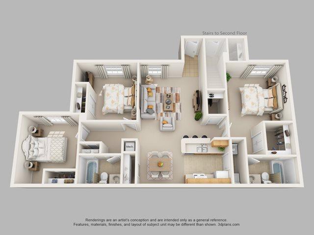 3 Bedroom 2 Bath Floor Plan 3