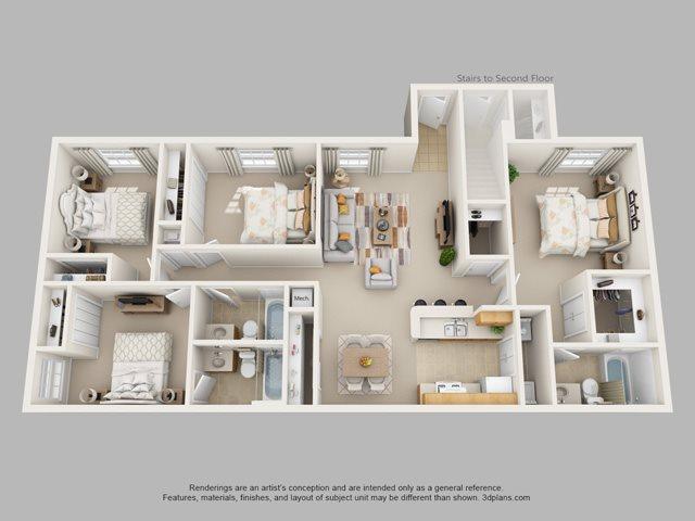 4 Bedroom 3 Bath Floor Plan 4