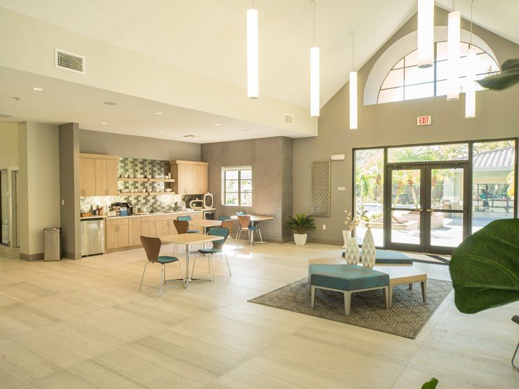 Clubhouse with TV, Fireplace, and Kitchen at The Preserve at Westchase, Tampa