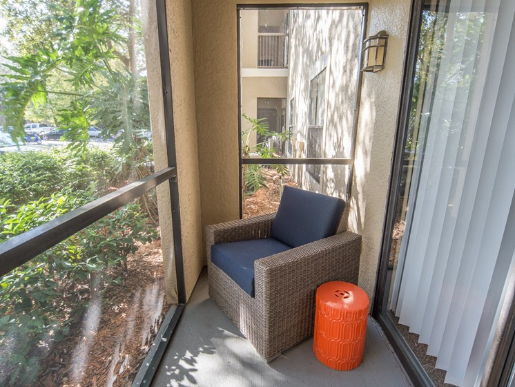 Private Screened Patio/Balcony with Storage at The Preserve at Westchase, Tampa, Florida