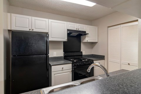 Fully Equipped Kitchen with Black Appliances