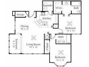 Flamingo  2 Bedroom 2 Bathroom Floor Plan