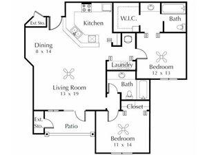 Ibis   2 Bedroom 2 Bathroom Floor Plan
