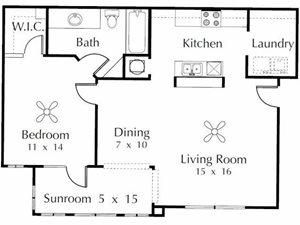 Robin  1 Bedroom 1 Bathroom Floor Plan