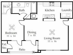 Sparrow  1 Bedroom 1 Bathroom Floor Plan