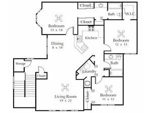 Spoonbill  3 Bedroom 2 Bathroom Floor Plan