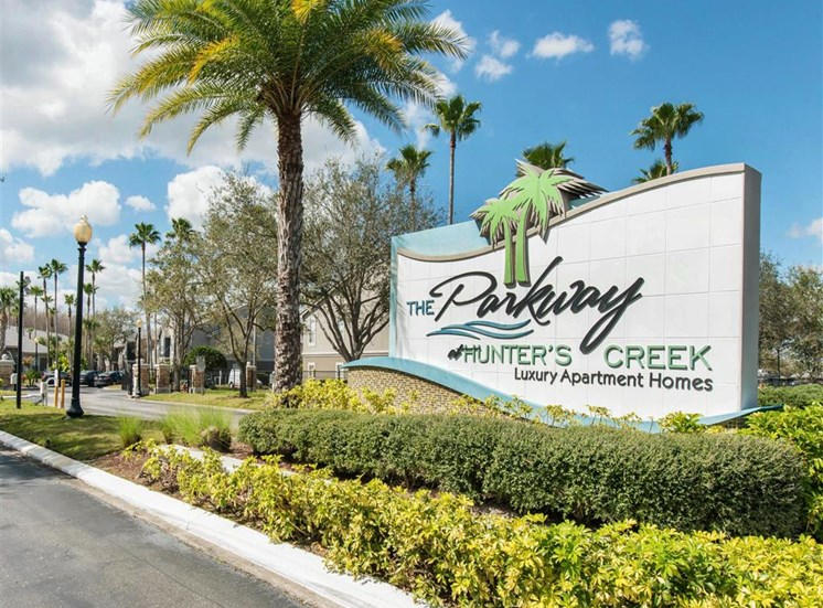The Parkway at Hunters Creek | Apartments for Rent in Orlando, FL | Front Entrance Sign