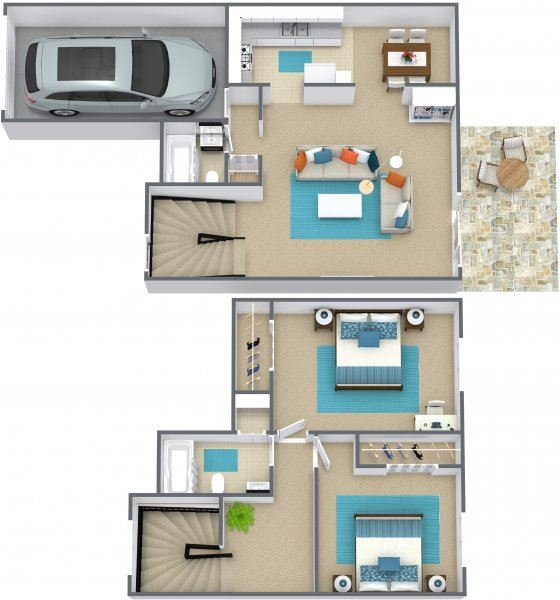 2 bed 1.5 bath townhome - G