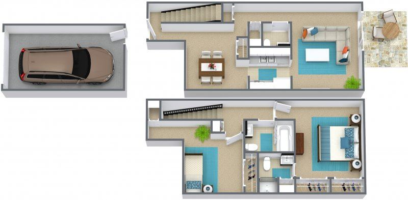 2 bed 2.5 bath townhome - D