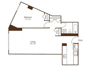Ellicott House Floor Plan A1 1Bedroom 1 Bath