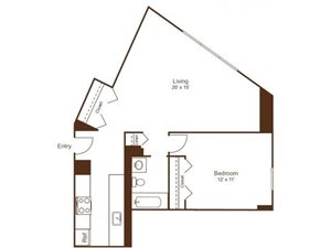 Ellicott House A2 Floor Plan 1 Bedroom 1 Bath