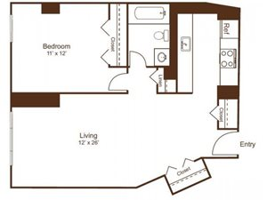Ellicott House A3 Floor Plan 1 Bedroom 1 Bath