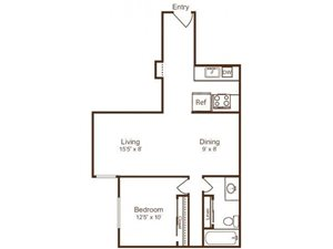 Ellicott House A4 Floor Plan 1 Bedroom 1 Bath