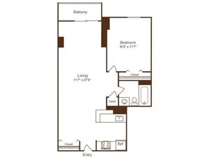 Ellicott House A5 Floor Plan 1 Bedroom 1 Bath