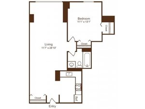 Ellicott House A6 Floor Plan 1 Bedroom 1 Bath