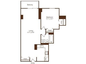 Ellicott House A7 Floor Plan 1 Bedroom 1 Bath