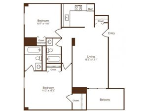 Ellicott House B1 Floor Plan 2 Bedroom 2 Bath