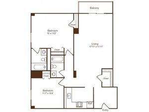 Ellicott House B2 Floor Plan 2 Bedroom 2 Bath