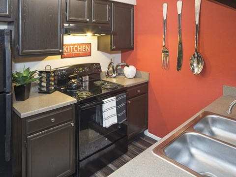 Kitchen with Black Appliances and Double Basin Sink