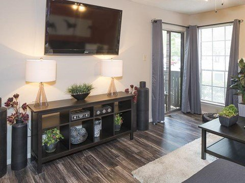 Living Area with Patio | Landmark at Prescott Woods Apartment Homes Austin, TX