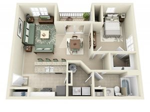 Flagstone at Indian Trail Floor Plan A-1 Bedroom 1 Bath