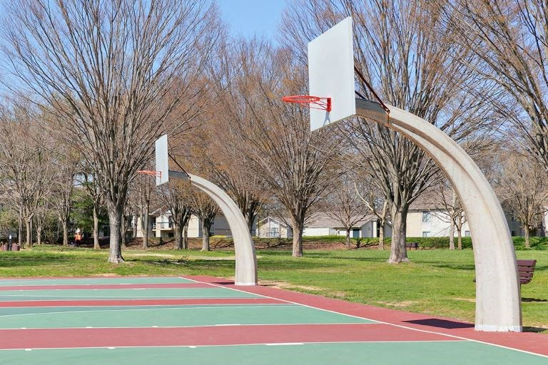 outdoor basketball court in park