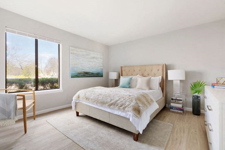 large bedroom with natural light