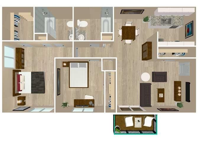 2 Bedroom 2 Baths Floor Plan 3