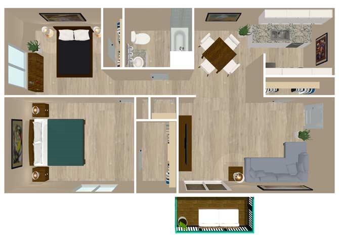 2 Bedroom 1 Bath Floor Plan 2
