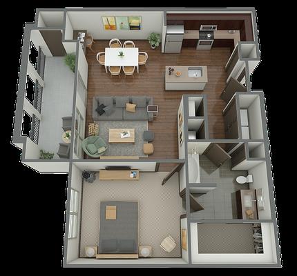 A2 - 1 Bed 1 Bath Floor Plan 3