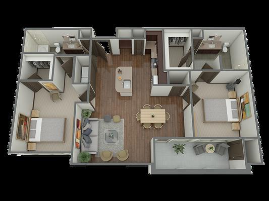 B2 - 2 Bed 2 Bath Floor Plan 8