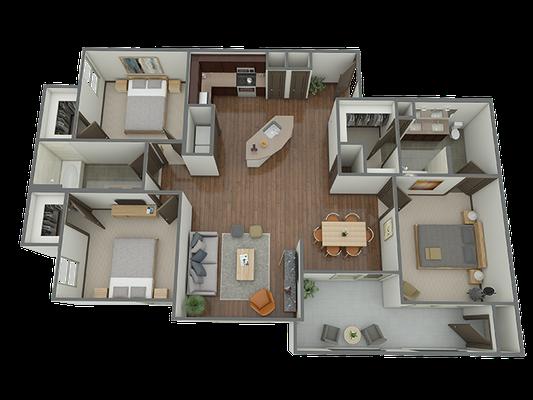 C1 - 3 Bedroom 2 Bath Floor Plan 11