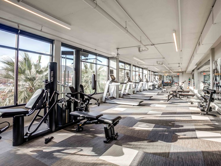 Fitness Center with Phoenix Skyline Views